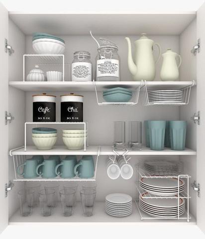 Imagem de Kit Organizador Armário Cozinha Xícara Prateleira Prato 3 Un