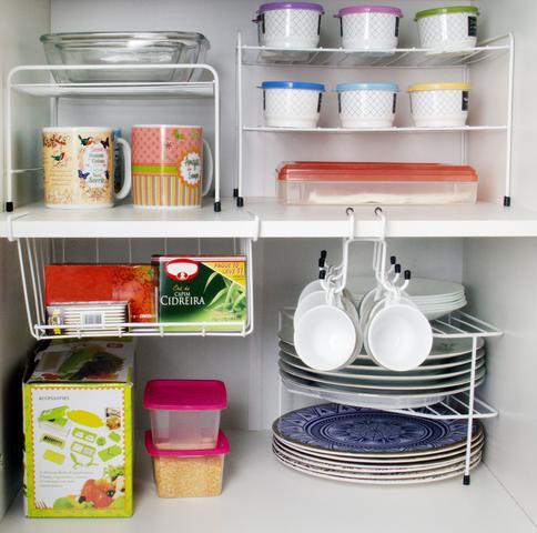 Imagem de Kit Organizador Cozinha Armário 5 Peças  Xícara Prateleira Cantoneira Cesto Suspenso
