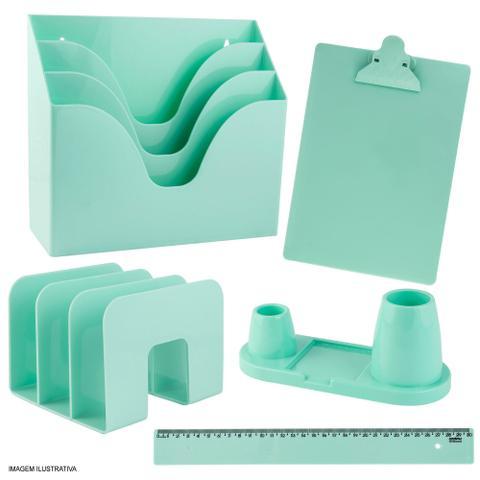 Imagem de Kit Organizador de Mesa e Escritório Verde Pastel Maxcril