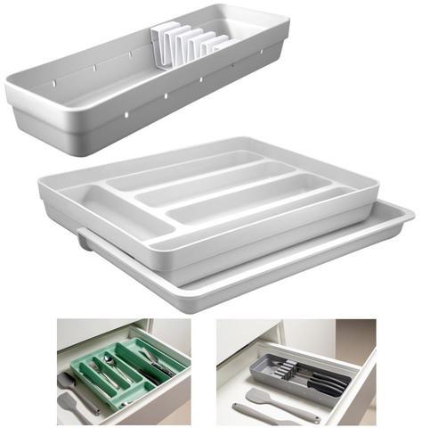 Imagem de Kit Organizador Gavetas Talheres C/ Extensor Porta Talher Facas Cozinha Logic - Ou