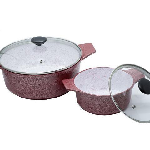 Imagem de Kit Panelas Plus em Alumínio Fundido Revestimento Cerâmica Antiaderente 5 Peças Vermelho