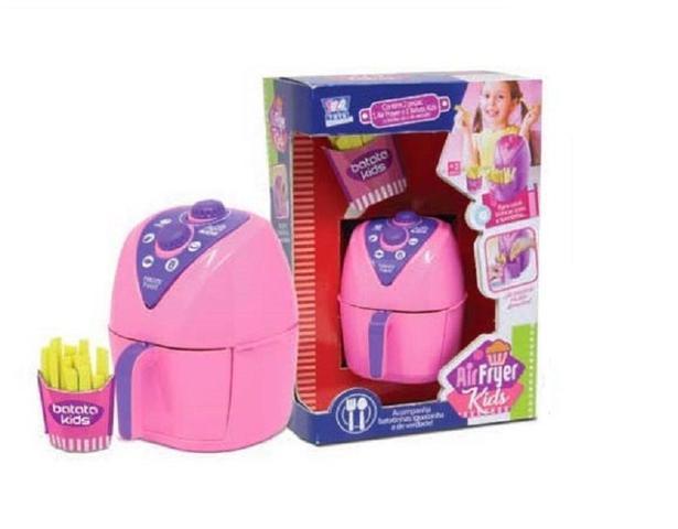 Imagem de Kit Panelinha Air Fryer +Cafeteira Kids Mini Colors Menina Brinquedo Zuca Toys