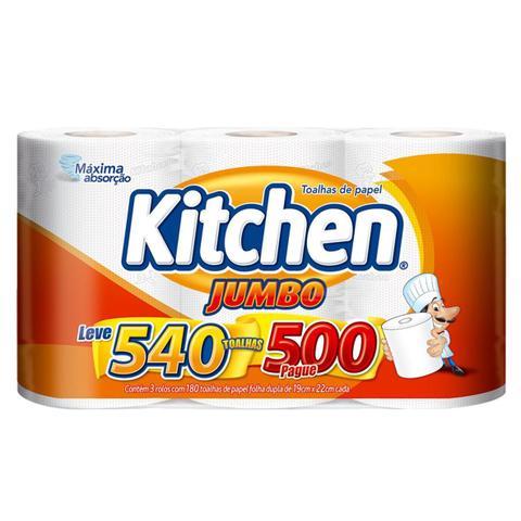 Imagem de Kit Papel Toalha Folha Dupla Kitchen Jumbo 1.080 Folhas