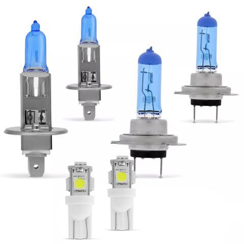 Imagem de Kit Par Lâmpadas Super Brancas H1 e H7 Acompanha Par de Lâmpadas Pingo T10 Efeito Xênon