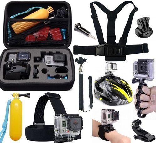 Imagem de Kit para Câmeras de Ação como  Sjcam Eken Sport Cam HD Ultra Sony Mala Média Cinta Capacete