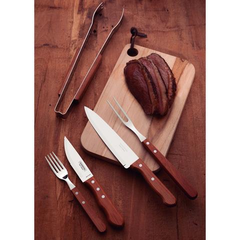 Imagem de Kit para Churrasco Tramontina Jumbo 15 peças Aço Inox com Madeira