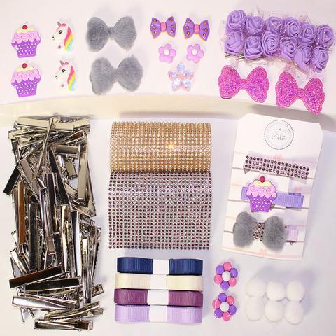 Imagem de Kit para confecção de Hair Clipper (presilha de cabelo/ laço/ strass) - Lilás