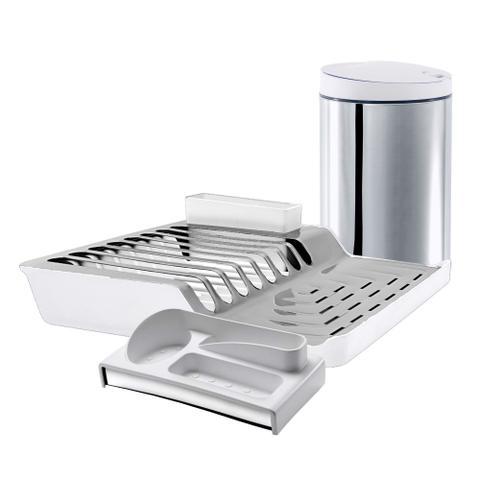 Imagem de Kit para pia de cozinha 03 peças com Lixeira, Escorredor e organizador Branco Brinox