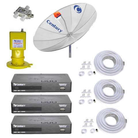 Imagem de Kit Parabólica Digital 1,9 Century, Multiponto, 3 Rec Digital HD Century B3, Divisor e Kits cabo