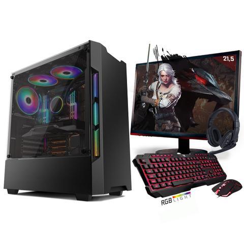 Imagem de Kit PC Gamer Neologic Start NLI81420 Ryzen 5 2400G 8GB (Radeon RX Vega 11 Integrado) SSD 240GB + Monitor 21,5