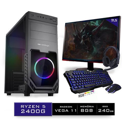 Imagem de Kit PC Gamer Neologic Start NLI81423 Ryzen 5 2400G 8GB (Radeon RX Vega 11 Integrado) SSD 240GB + Monitor 21,5