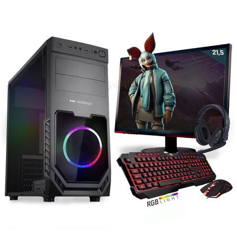 Imagem de Kit PC Gamer Neologic Start NLI81424 Ryzen 5 2400G 8GB (Radeon RX Vega 11 Integrado) SSD 480GB + Monitor 21,5