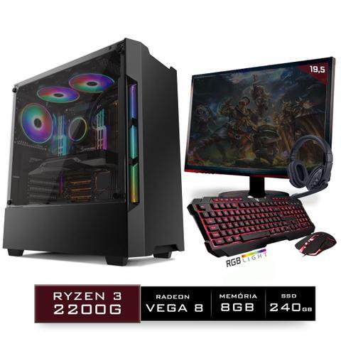 Imagem de Kit PC Gamer Neologic Start NLI81426 Ryzen 3 2200G 8GB ( Radeon Vega 8 Integrado) SSD 240GB + Monitor 19,5