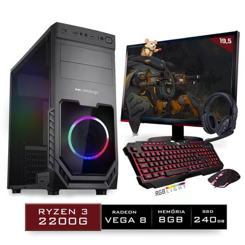 Imagem de Kit PC Gamer Neologic Start NLI81429 Ryzen 3 2200G 8GB ( Radeon Vega 8 Integrado) SSD 240GB + Monitor 19,5