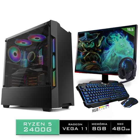 Imagem de Kit PC Gamer Neologic Start NLI81433 Ryzen 5 2400G 8GB (Radeon RX Vega 11 Integrado) SSD 480GB + Monitor 19,5