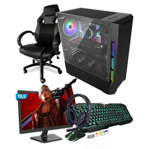 Imagem de Kit PC Gamer Smart SMT81492 Intel i5 8GB (RX 580 8GB) SSD 240GB + Monitor 19,5 + Cadeira Gamer