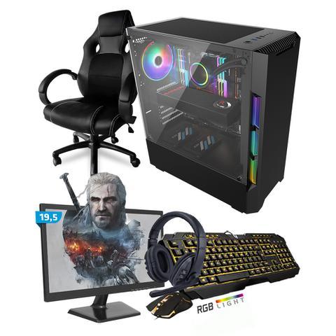 Imagem de Kit PC Gamer Smart SMT81493 Intel i5 8GB (RX 580 8GB) SSD 480GB + Monitor 19,5 + Cadeira Gamer