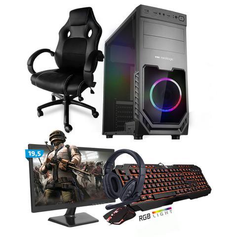 Imagem de Kit PC Gamer Smart SMT81494 Intel i5 8GB (RX 580 8GB) 1TB + Monitor 19,5 + Cadeira Gamer