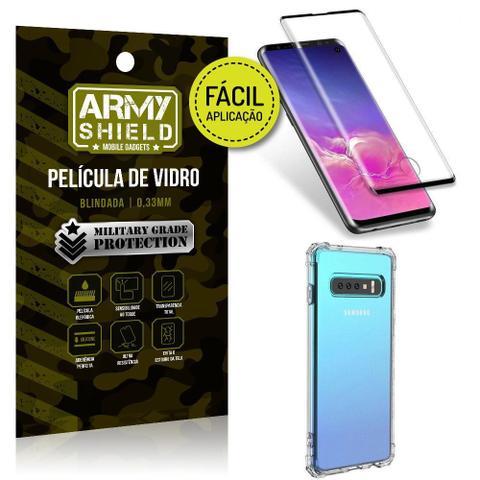 Imagem de Kit Película 3D Fácil Aplicação Samsung Galaxy S10 Película 3D + Capa Anti Impacto - Armyshield