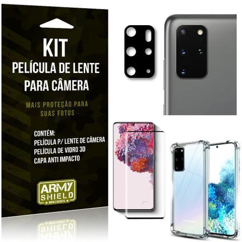 Imagem de Kit Película de Câmera Galaxy S20 Plus + Película 3D + Capa Anti Impacto - Armyshield