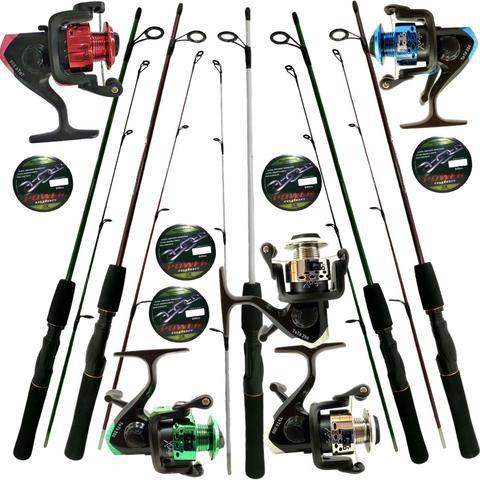 Imagem de Kit Pesca 5 Molinetes C/ Linha E 5 Varas 1,20m Oferta Barato
