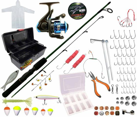 Imagem de Kit Pesca 8kg Maleta Molinete Vara Anzol Completo Pronto