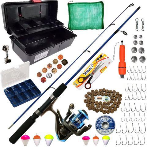 Imagem de Kit Pesca Pescaria Completa Vara Molinete 6kg  + 74 Itens