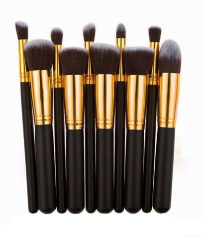 Imagem de Kit Pinceis Maquiagem 10 Pcs Preto Pronta Entrega
