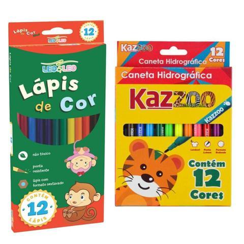 Imagem de Kit Pintura Infantil Escolar Com 12 Lapis De Cor Leo & Leo + 12 Canetinhas Hidrograficas Kaz