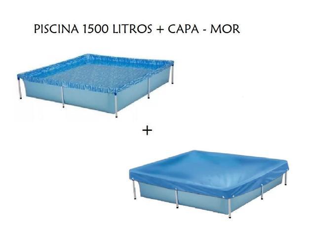 Imagem de Kit Piscina Infantil Retangular 1500 Litros Mor + Capa para Piscina