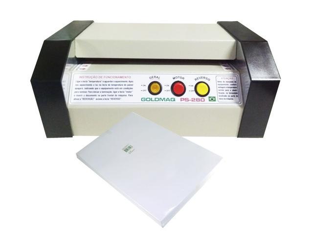 Imagem de Kit Plastificadora PS-280 tamanho A-4 profissional + 100 polaseal A-4