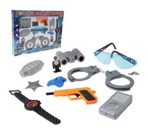 Imagem de Kit Policia Brinquedo Infantil Police + Capacete Policial.