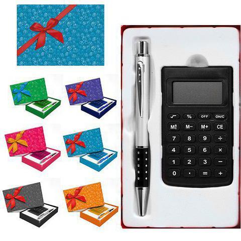 Imagem de Kit Presente Calculadora Caneta De Alumínio E Caixinha Para Presente