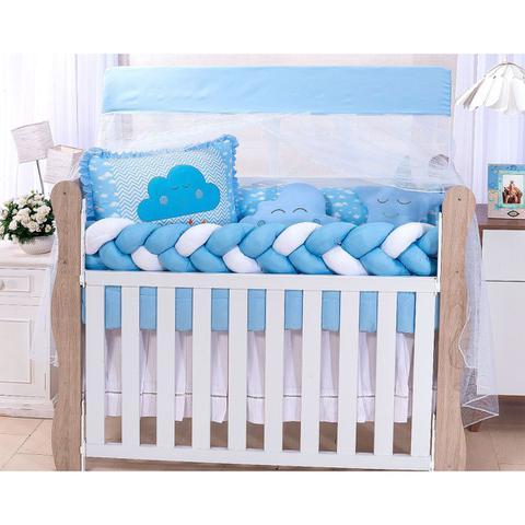 Imagem de Kit Protetor Berço Americano Menino Nuvem Trança 100% Algodão Com 2 Almofadas Decorativas