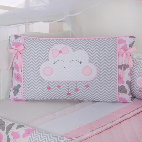 Imagem de Kit Protetor Berço completo Lateral 12 Peças Nuvem rosa