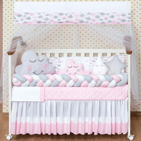 Imagem de Kit Protetor Berço Trança Completo Cabeceira Nuvem Chuva de Amor Rosa Menina 13 Peças com Traveseiro