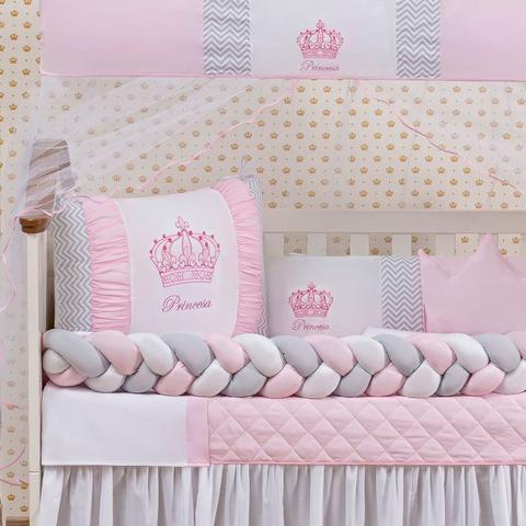 Imagem de Kit Protetor Berço Trança coroa menina rosa 11 Peças