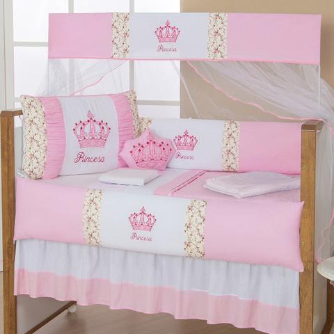Imagem de Kit Protetor De  Berço Imperial  Rosa 10pçs Almofada Brinde