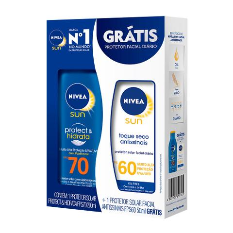 Imagem de Kit Protetor Solar Corporal Nivea FPS70 200ml + Facial FPS60 50ml
