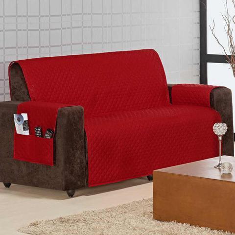 Imagem de Kit Protetores de Sofá Home p/ 2 e 3 Lugares 02 Peças - Vermelho - Aquarela
