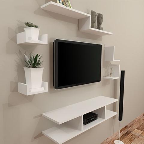 Imagem de Kit rack tv 6 peças moderno para sala quarto 100% mdf branco