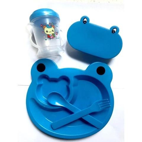 Imagem de Kit Refeição Infantil Sapinho 5 Peças Menino Azul