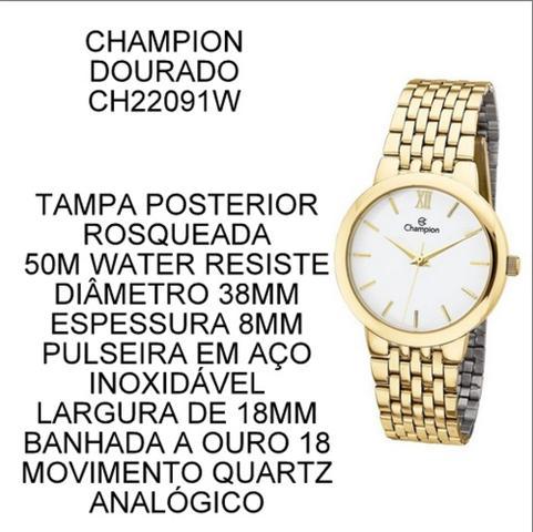 Imagem de Kit Relógio Champion Dourado Feminino Ch22091w + Brincos E Colar ORIGINAL NF OURO18K BARATO!
