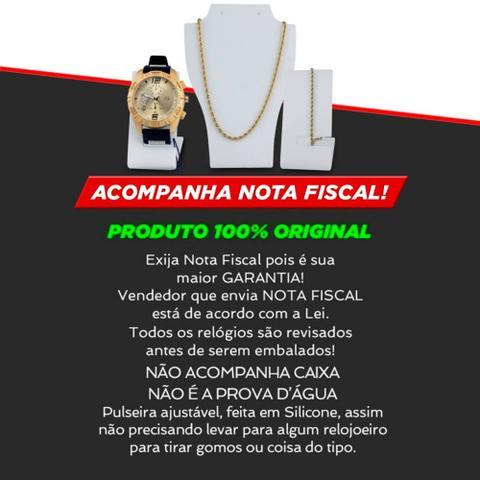Imagem de Kit Relógio Masculino Analógico + Colar + Pulseira
