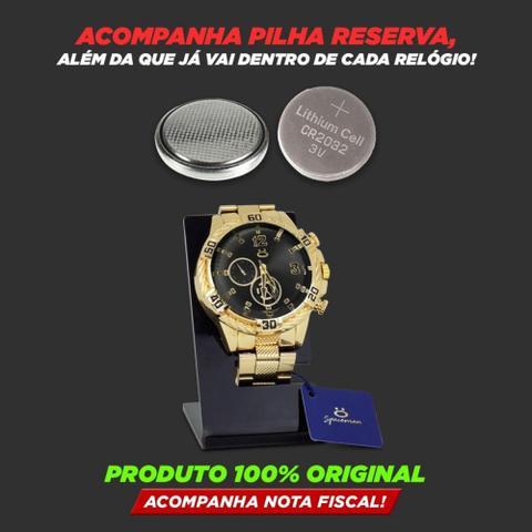 Imagem de Kit Relogio Masculino Dourado Analógico Quartzo Original + Bone e Oculos  KRBO5