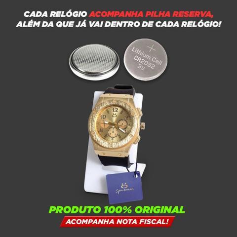 Imagem de Kit Relogio Masculino Dourado Analógico Quartzo Original + Colar e Pulseira em Aço  KRCP4
