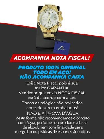 Imagem de Kit Relogio Masculino Dourado Analógico Quartzo Original + Colar e Pulseira em Aço  KRCP5