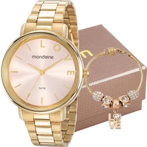 Imagem de Kit Relógio Mondaine Feminino Dourado Com Pulseira 53761LPMKDE1K1