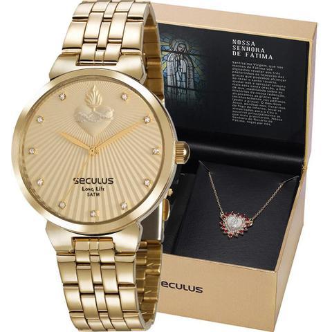 Imagem de Kit Relógio Seculus Feminino Dourado Com Colar 35007LPSKDS1K1 Analógico 5 Atm Cristal Mineral