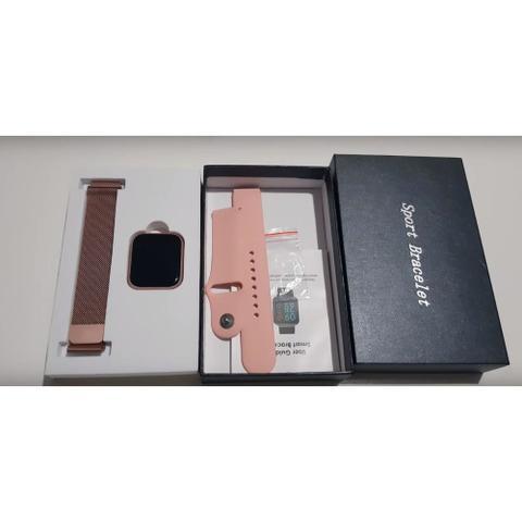 Imagem de Kit Relógio Smartwatch Rose + 2 Pulseiras + Fone Bluetooth